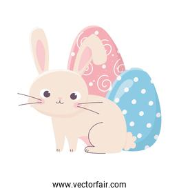 isolated easter cute rabbit with two egg decoration celebration