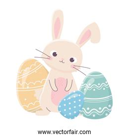 happy easter cute rabbit with decorative eggs celebration