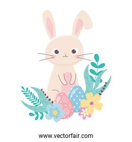 happy easter cute rabbit and eggs flowers foliage cartoon