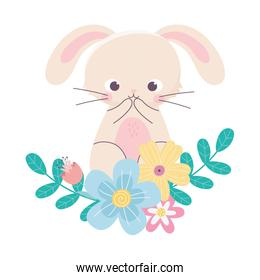 happy easter cute rabbit flowers leaves nature decoration