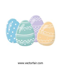 happy easter day greeting card decorative colored eggs
