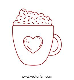 chocolate cup heart foam and sprinkles isolated icon design line style