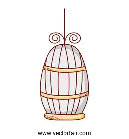 cage for bird pet cartoon isolated icon design