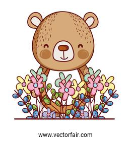 cute animals, little bear flowers leaves foliage cartoon