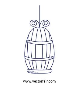 cage for bird pet cartoon isolated icon design line style