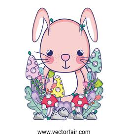 cute animals, little rabbit flowers mushroom leaves foliage cartoon