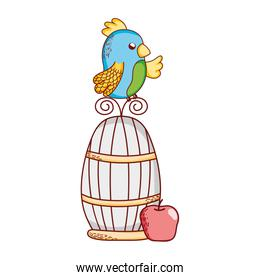 cute animals, parrot on cage with apple nature cartoon