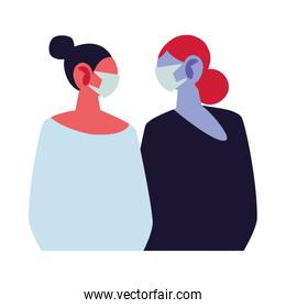 young women using face masks