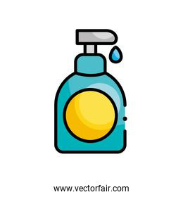 antibacterial gel bottle icon, line color style