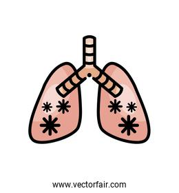 diseased lungs with covid 19 virus, line color style