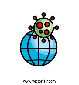 global sphere and covid 19 virus symbol, line color style