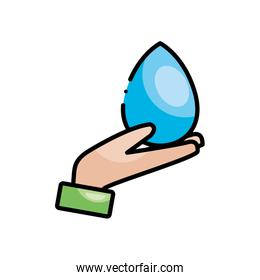 hand holding a water drop icon, line color style