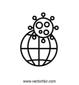 global sphere and covid 19 virus symbol, line style