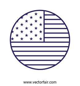 Isolated usa flag circle line style icon vector design