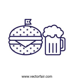 Isolated hamburger and beer line style icon vector design