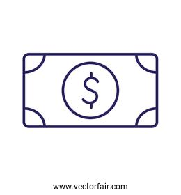 Isolated bill with dollar symbol line style icon vector design