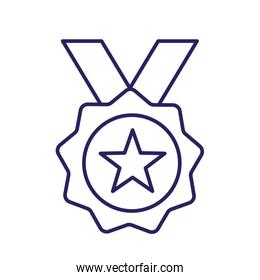 Isolated medal with star line style icon vector design