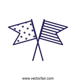 Isolated usa flags line style icon vector design