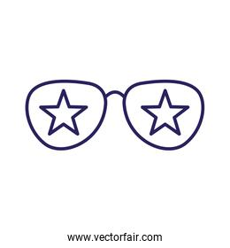 Isolated glasses with stars line style icon vector design