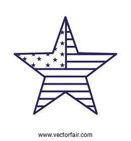 Isolated usa flag star line style icon vector design
