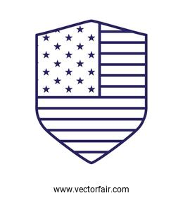 Isolated usa flag shield line style icon vector design