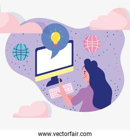 meeting online, woman using computer, world connected cartoon