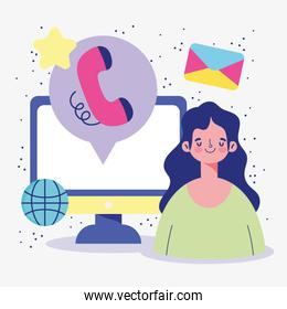 meeting online, woman video call computer, email, world connection