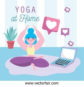 online yoga, young woman lotus position with laptop in floor