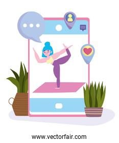yoga online, smartphone with daily yoga training app