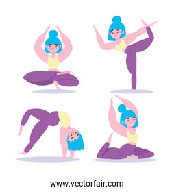 yoga online, woman in different yoga pose training