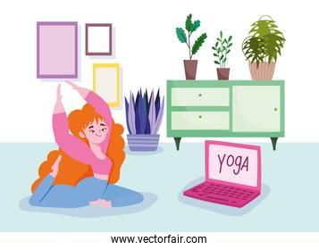 online yoga, woman on floor with laptop practicing yoga in room