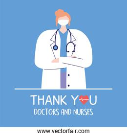 thank you doctors and nurses, female physician with medical mask and stethoscope