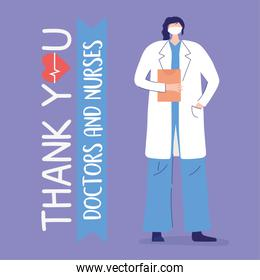thank you doctors and nurses, female physician with mask and clipboard