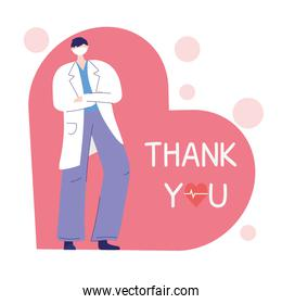 thank you doctors and nurses, physician with medical mask and coat on heart love
