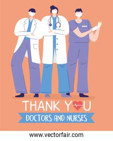 thank you doctors and nurses, female and male physician and nurse staff