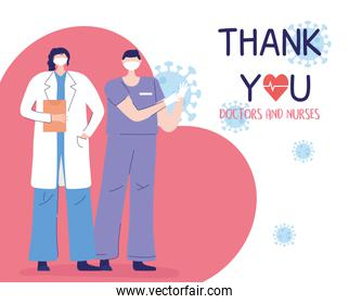 thank you doctors and nurses, female physician and male nurse with protective mask