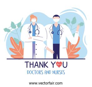 thank you doctors and nurses, male and female physicians professional specialist
