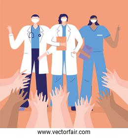 thank you doctors and nurses, physicians and nurse, raised hands greeting