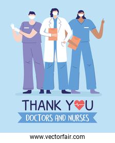 thank you doctors and nurses, physician and male female nurses group medical