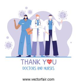 thank you doctors and nurses, team group physician and nurse occupation hospital