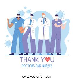 thank you doctors and nurses, male and female physicians and nurses medical workers