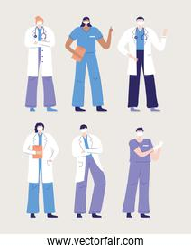 thank you doctors and nurses, physicians and nurses characters worker medical people