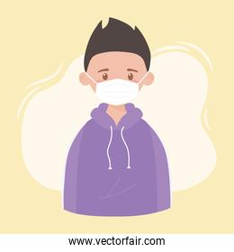 young boy wearing medical mask, prevention coronavirus disease covid 19
