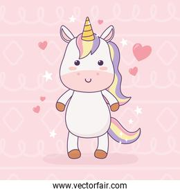 kawaii unicorn love hearts cartoon character magical fantasy