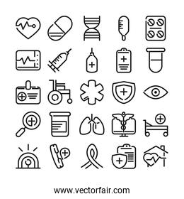 medical and health care equipment assistance icon set line style