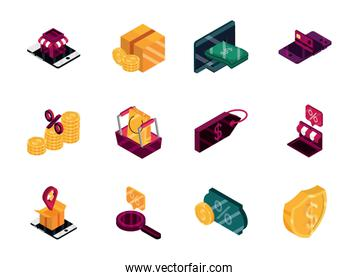 online shopping, order discount commerce market financial icons set, isometric isolated
