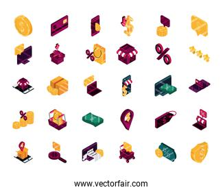 online shopping, order discount commerce market financial icons set, isometric