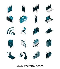 technology device gadget digital isometric isolated icons set