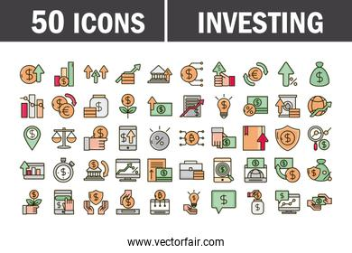 investing business financial economy money icons set line and fill icon