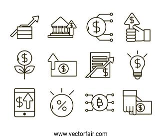 investing business financial economy money icons set line style icon